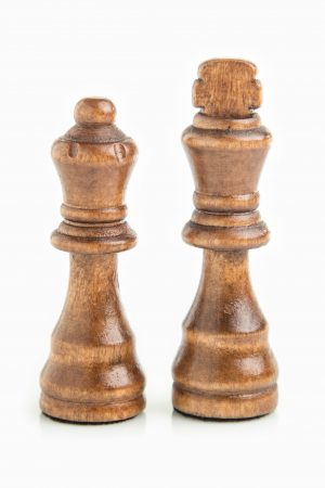 King and Queen chess pieces same colour isolated