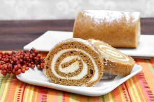 Sliced pumpkin roll cake