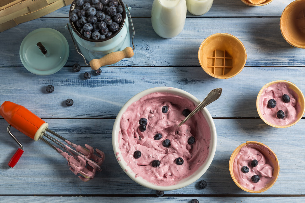 Ingredients for homemade blueberry ice cream